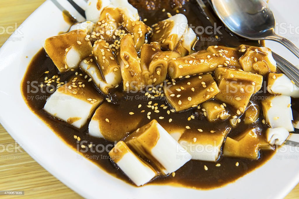 Singapore Chwee Kueh Steamed Water Rice Cake with Preserved stock photo