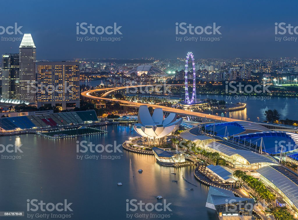 Singapore city skyline aerial view stock photo