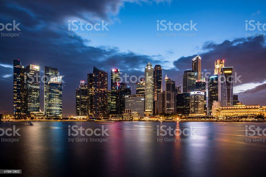 Singapore City Skyline at Night stock photo