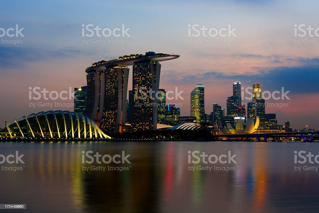Singapore City Skyline at Sunset royalty-free stock photo