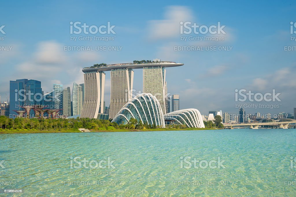 Singapore city skyline in morning at Marina bay stock photo