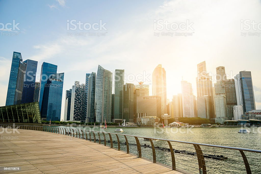 Singapore city skyline of business district downtown in daytime. stock photo