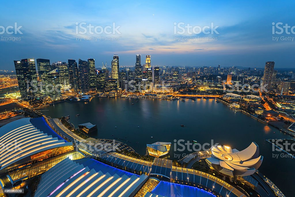 Singapore city skyline view at Marina Bay stock photo