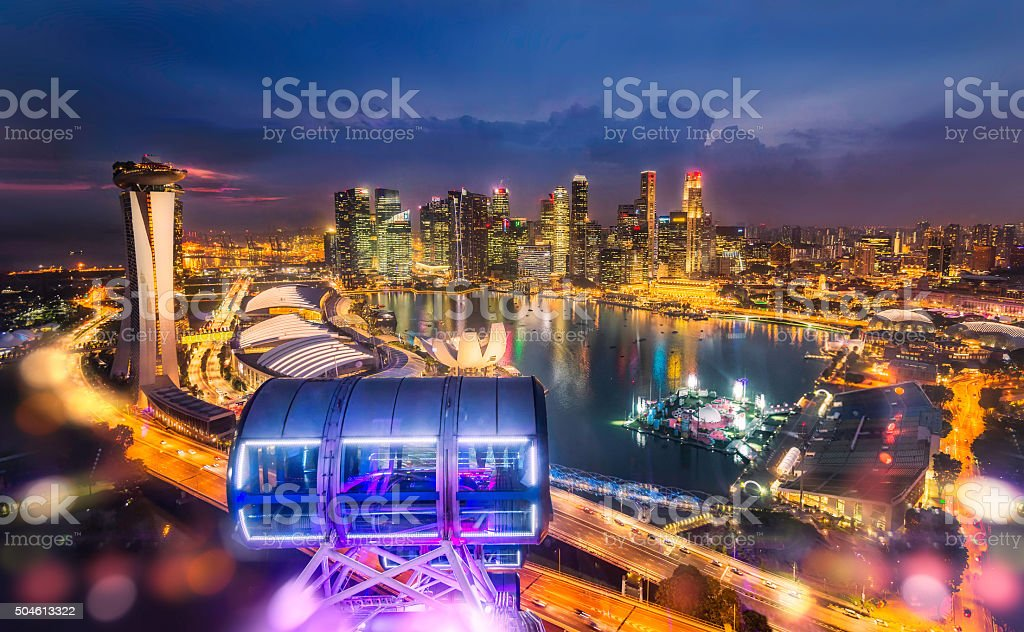 singapore city top view stock photo