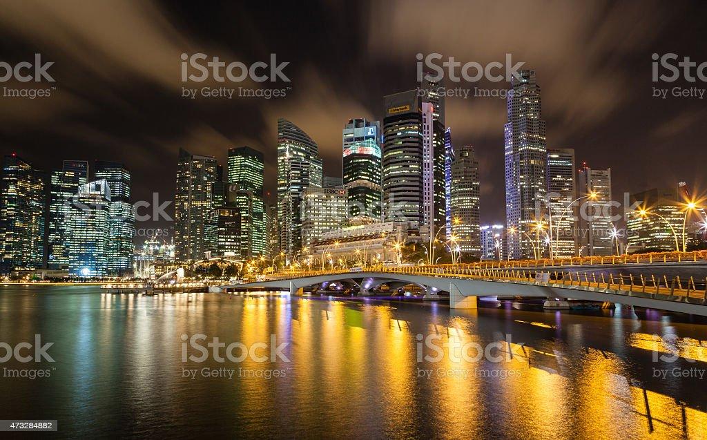 Singapore Cityscape at Night on Marina Bay stock photo