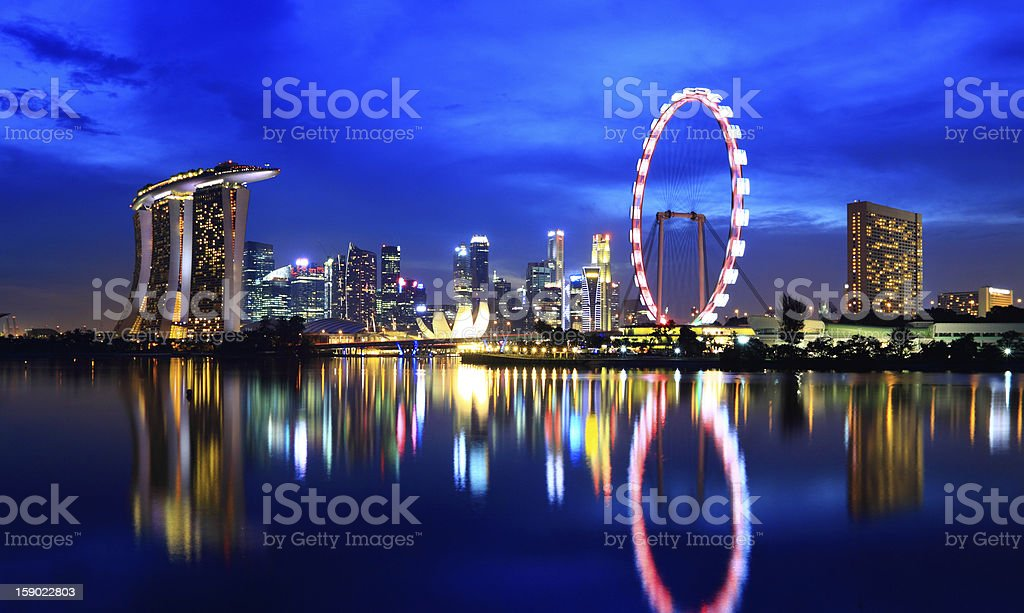 Singapore cityscape at night royalty-free stock photo
