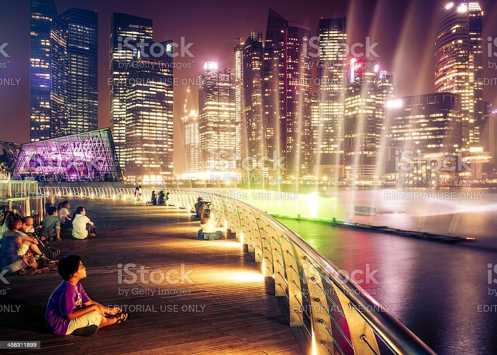 Singapore Cityscape at Night royalty-free stock photo