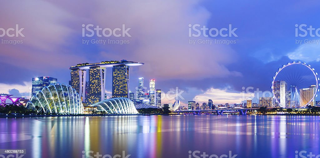 Singapore cityscape during sunset stock photo