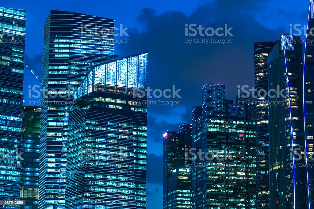 Singapore Cityscape Marina Bay at building stock photo