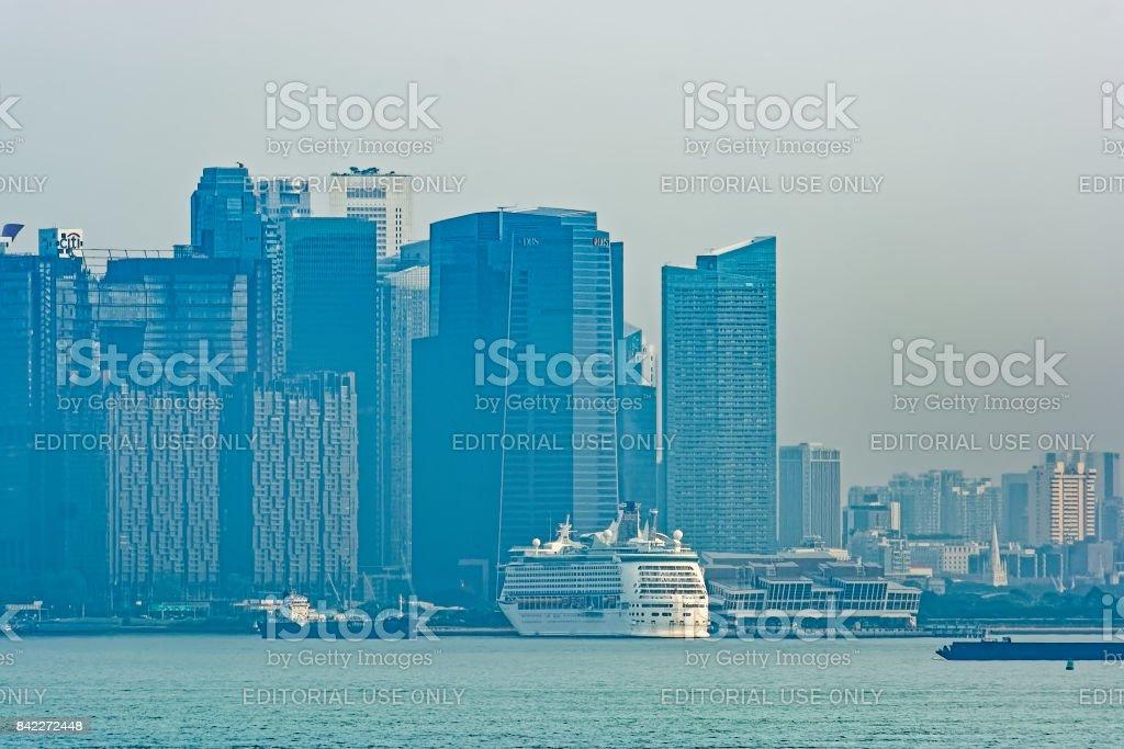 Singapore coastline at sunrise. stock photo