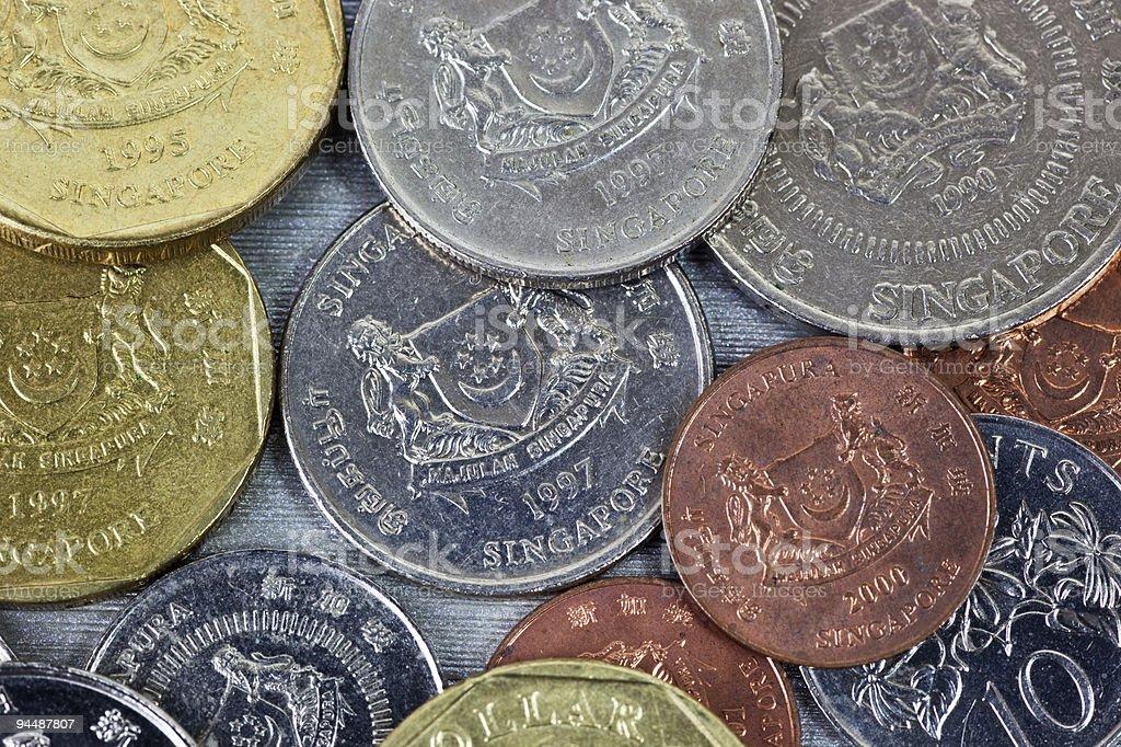 Singapore coins closeup stock photo