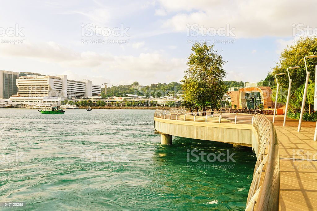 Singapore Cruise Center and Sentosa Boardwalk leading to Sentosa stock photo