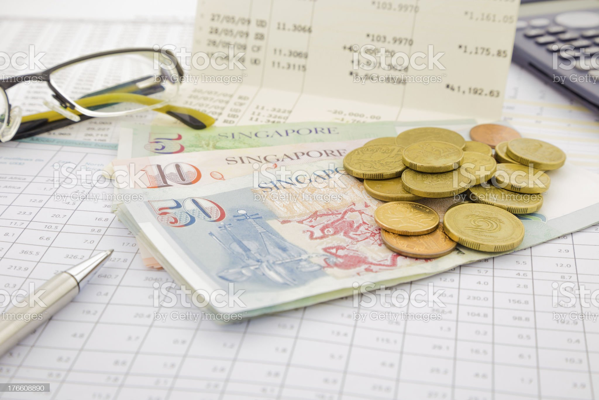 Singapore currency and money saving royalty-free stock photo