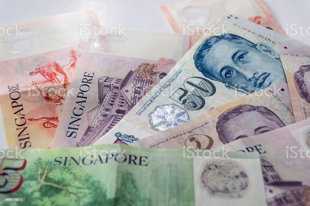 Singapore dollars  the basic monetary unit of Singapore. stock photo