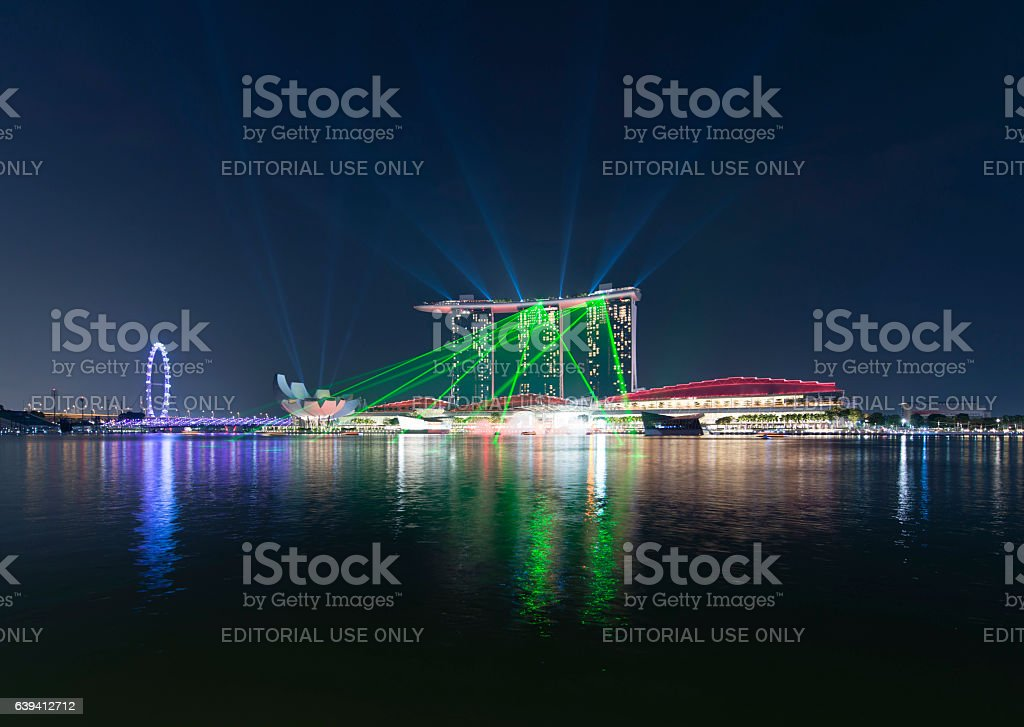Singapore downtown by night stock photo