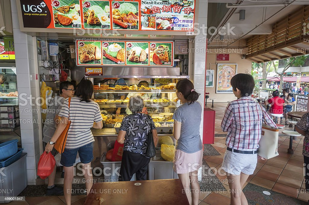 Singapore fast food stall in hawker centre market stock photo