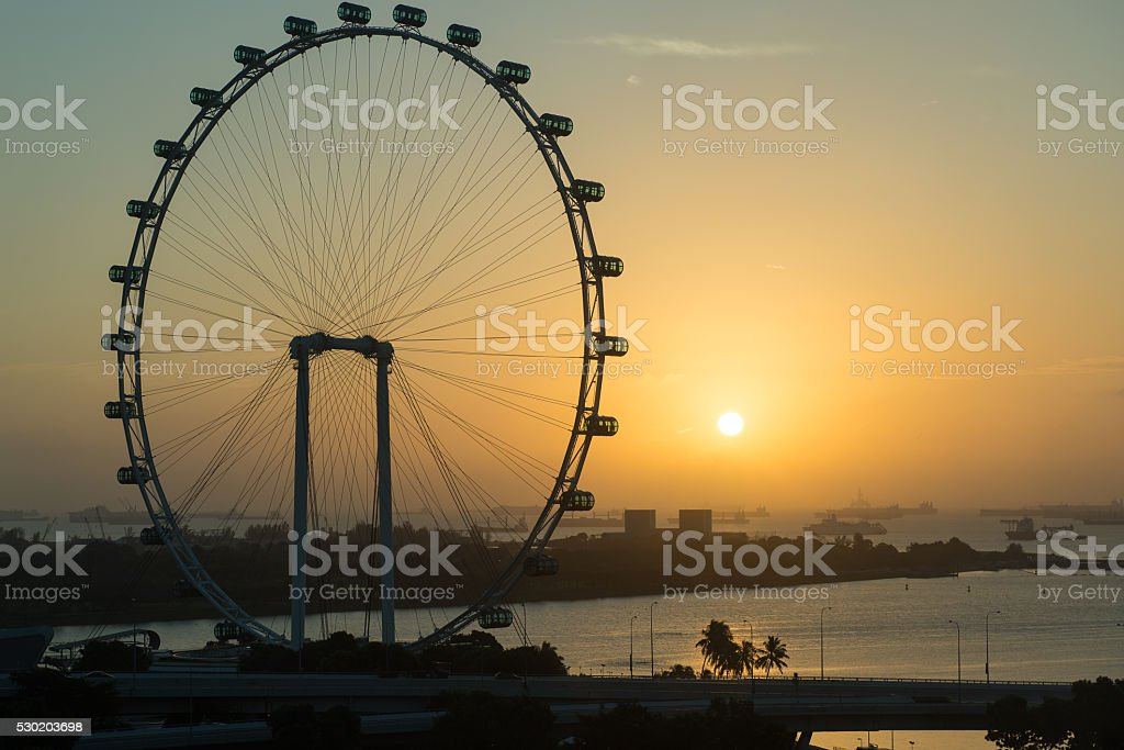 Singapore flyer at sunrise stock photo