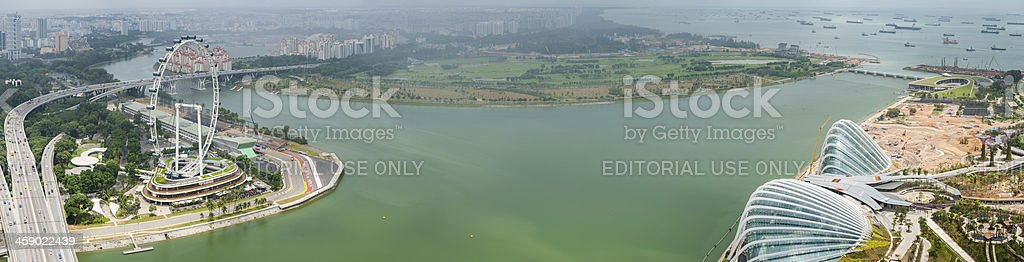 Singapore Flyer Garden by the Bay aerial panorama stock photo