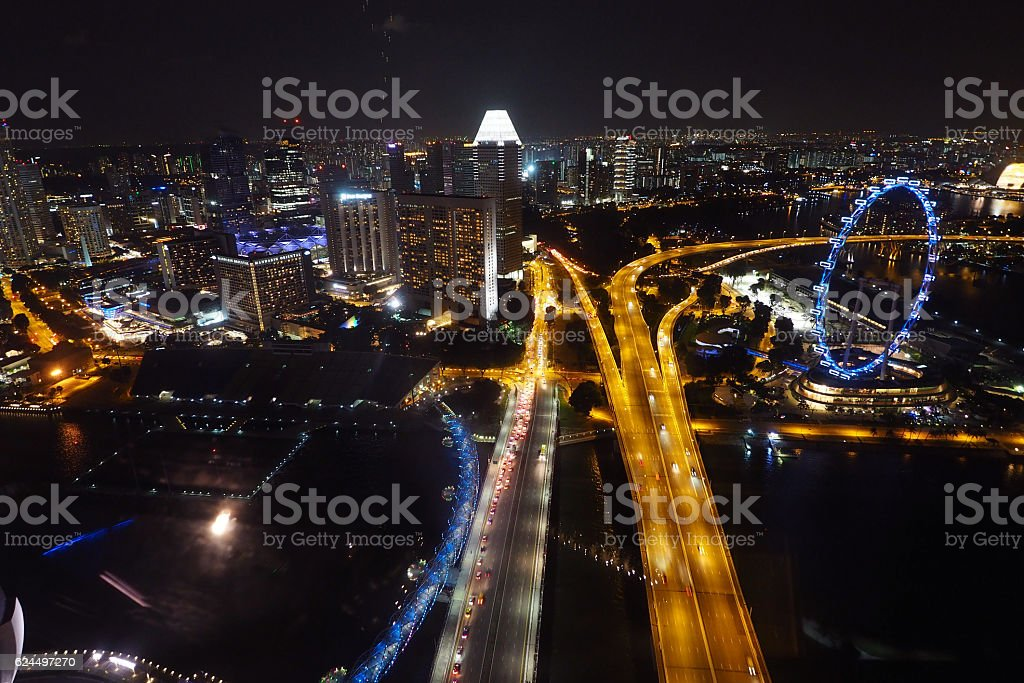 Singapore Flyer in purple light stock photo