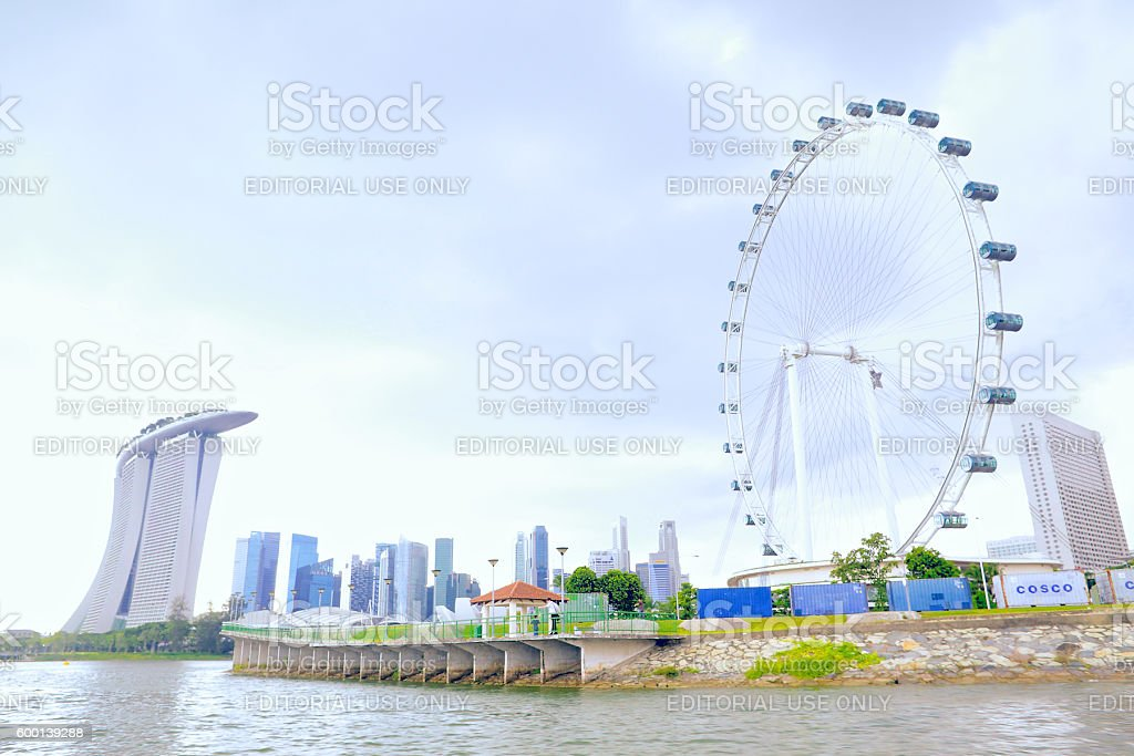 Singapore Flyer With Singapore City Background stock photo
