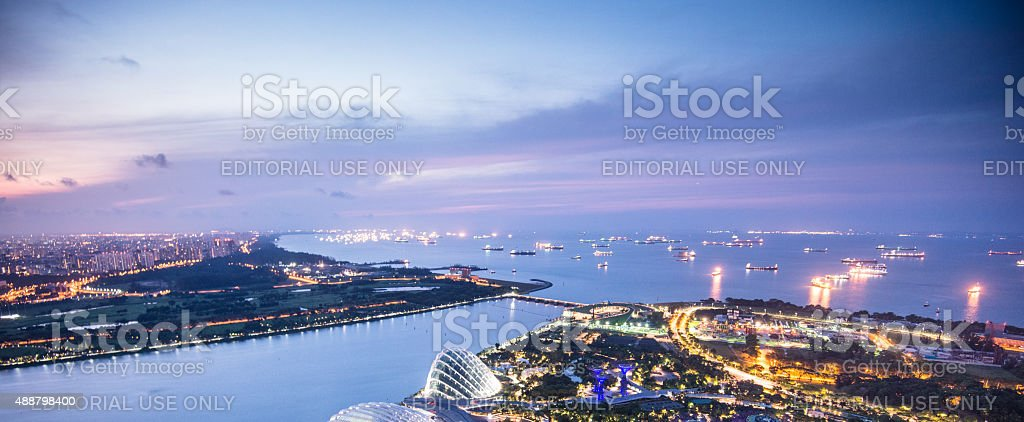 Singapore gardens by the bay night view stock photo
