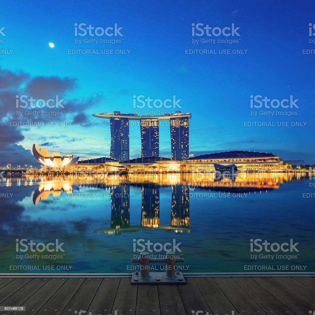Singapore glowing at night stock photo