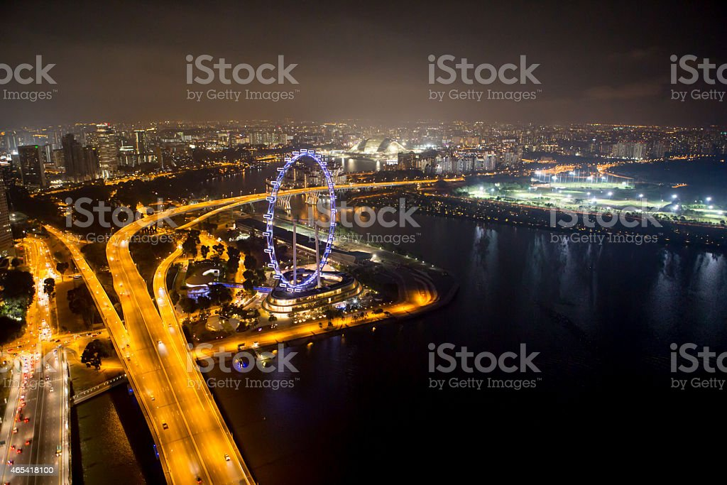 Singapore in the night time. stock photo