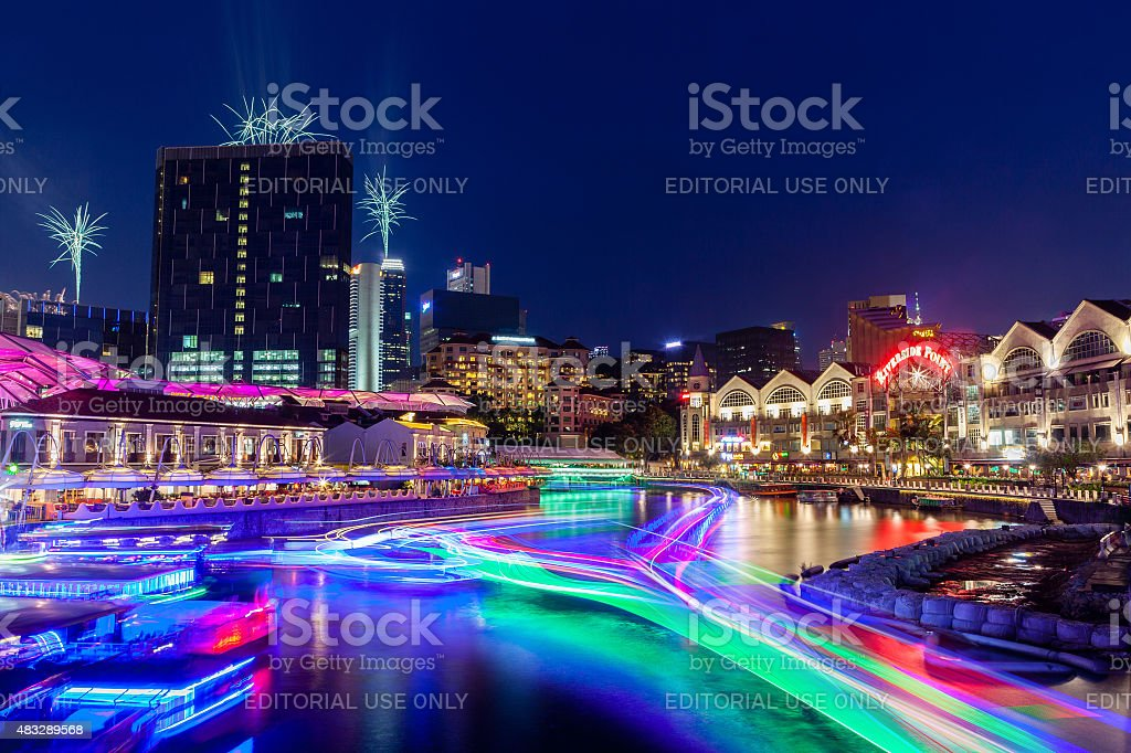 Singapore Landmark: Clarke Quay on Singapore River at Night stock photo