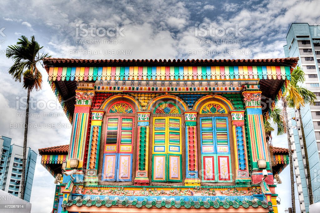 Singapore Landmark: Colorful building facade in Little India stock photo
