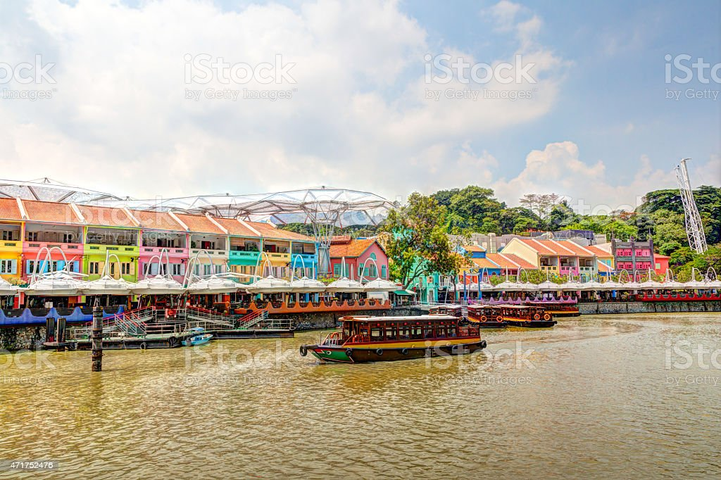Singapore Landmark: HDR of Clarke Quay on Singapore River stock photo