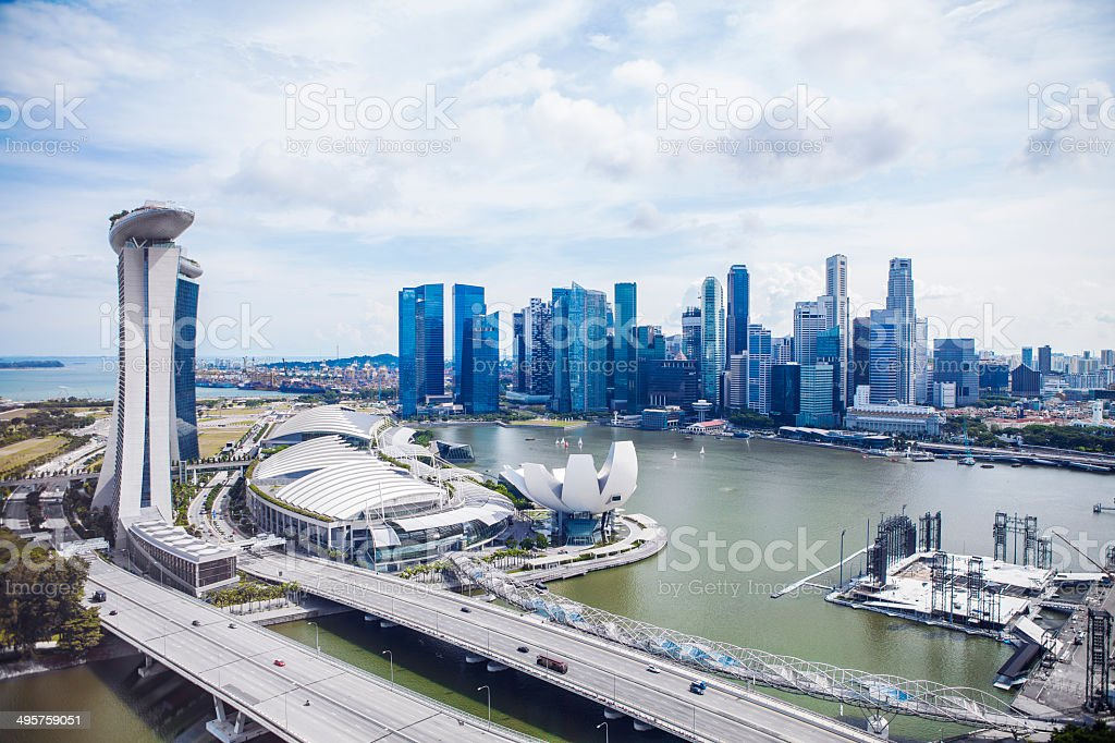 Singapore Marina Bay aerial cityscape panorama stock photo