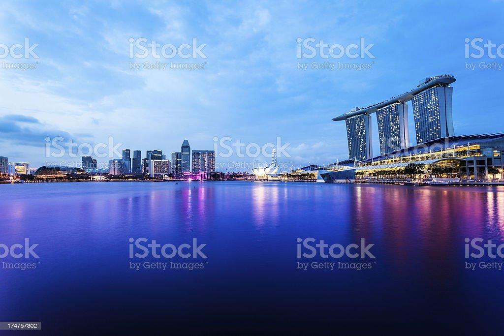 Singapore Marina Bay at Dusk stock photo