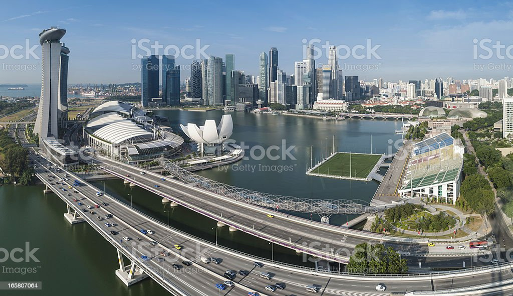 Singapore Marina Bay CBD landmarks aerial panorama stock photo