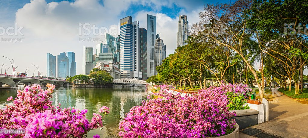 Singapore Marina Bay CBD skyscrapers crowded cityscape downtown core panorama stock photo