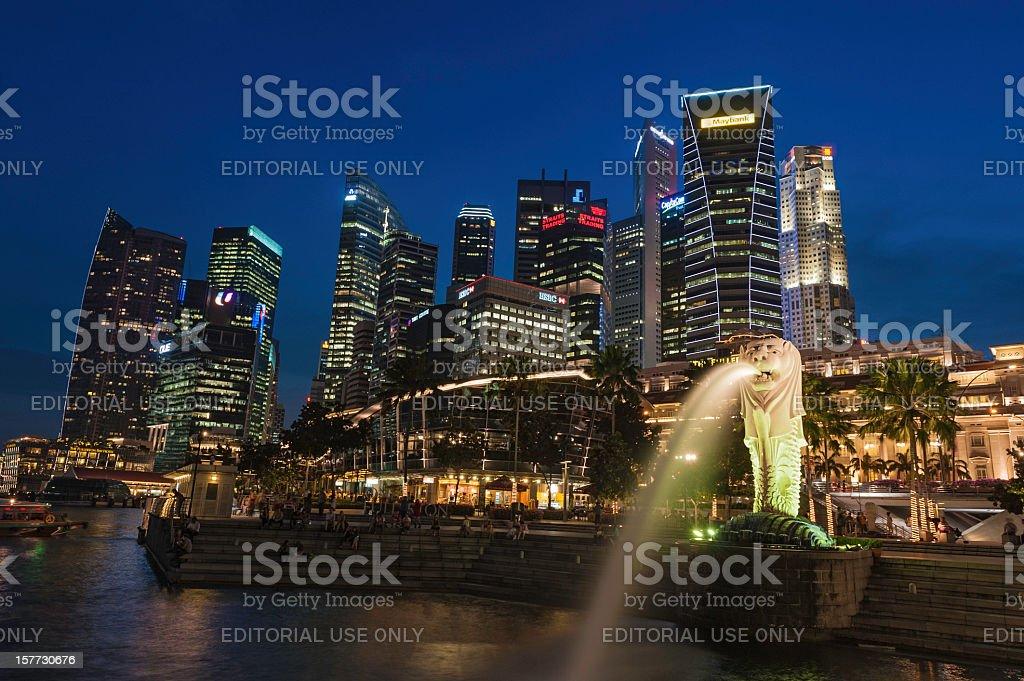 Singapore Marina Bay Merlion Park illuminated at night royalty-free stock photo