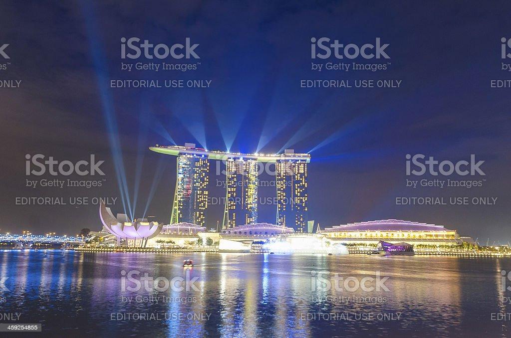 Singapore Marina Bay Sands Hotel colourful laser lightshow royalty-free stock photo