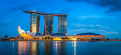 Singapore Marina Bay Sands hotel shopping mall illuminated dusk panorama