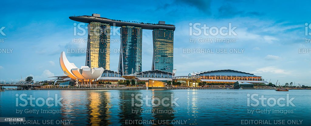 Singapore Marina Bay Sands iconic futuristic hotel resort panorama Asia stock photo