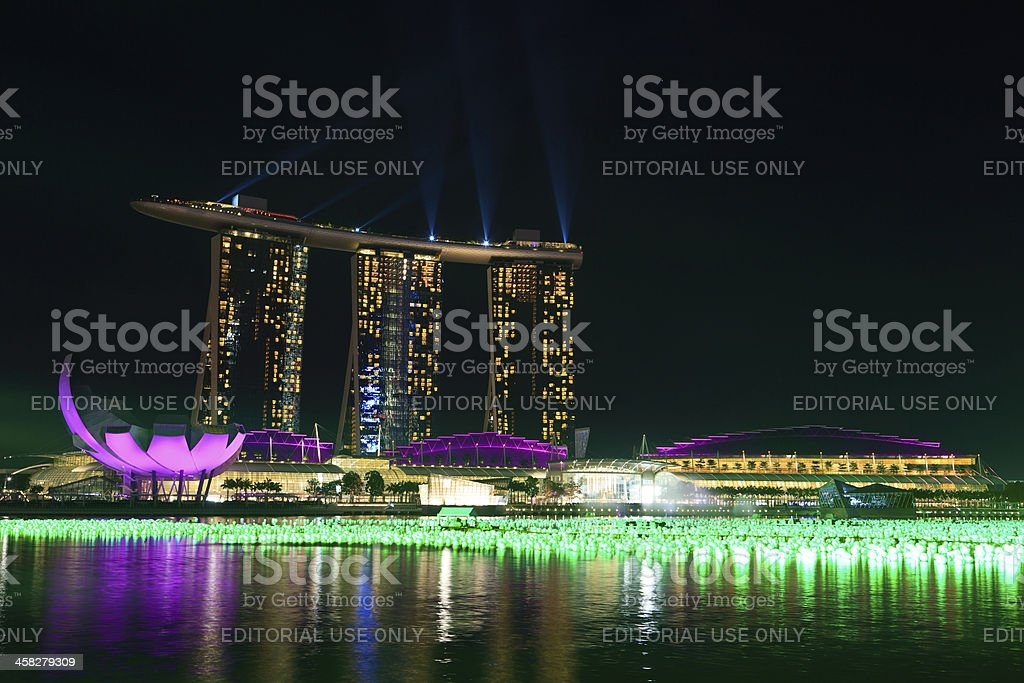 Singapore Marina Bay Sands night light show royalty-free stock photo