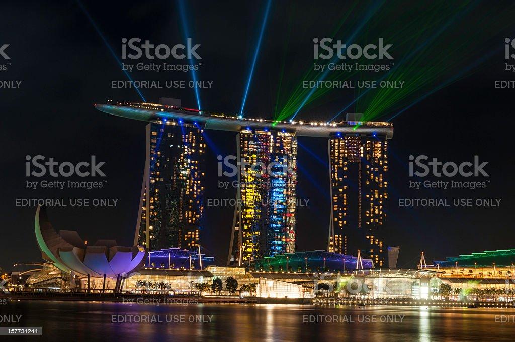 Singapore Marina Bay Sands night neon laser light show stock photo