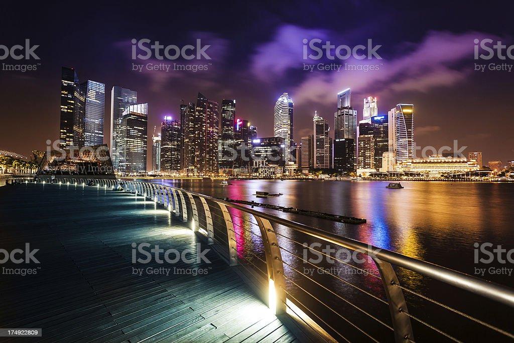 Singapore Marina Skyline by Night royalty-free stock photo