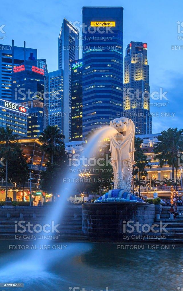 Singapore Merlion After Sunset stock photo