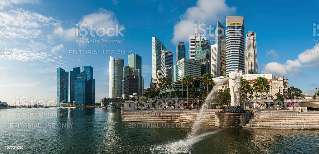 Singapore Merlion Statue fountain Marina Bay stock photo
