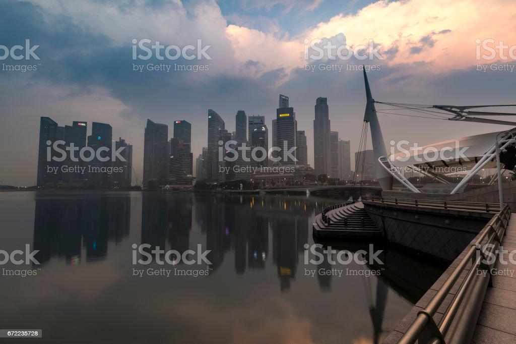 Singapore modern business district at sunrise stock photo
