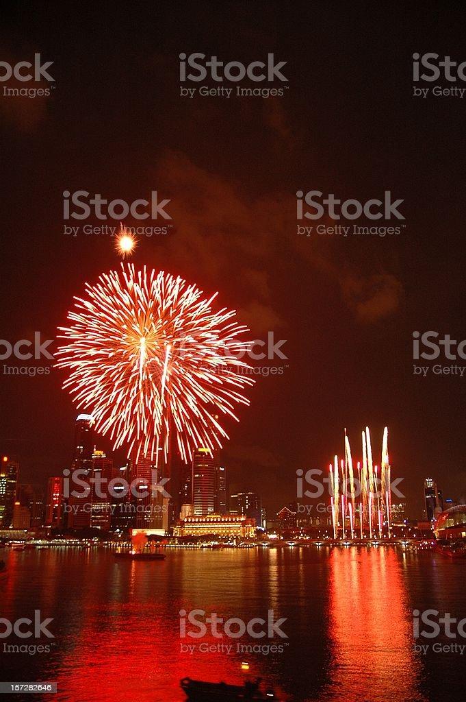 Singapore National Day Parade Firework 2005 @ Esplanade Bay stock photo
