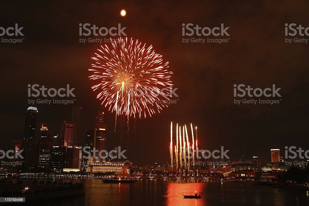 Singapore National Day Parade Firework 2005 @ Esplanade Bay royalty-free stock photo