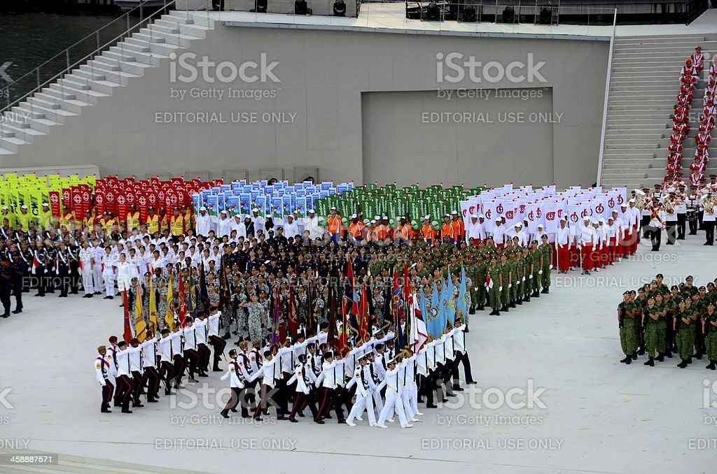 Singapore National Day Parade military Regimental colors walk past royalty-free stock photo