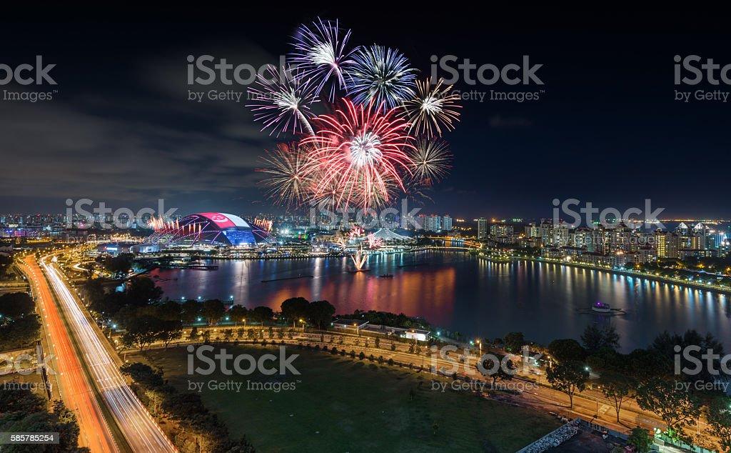 Singapore National Stadium with firework show in Singapore Natio stock photo
