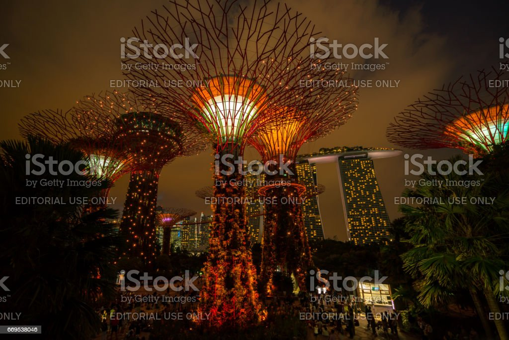 Singapore Night Skyline at Gardens by the Bay stock photo