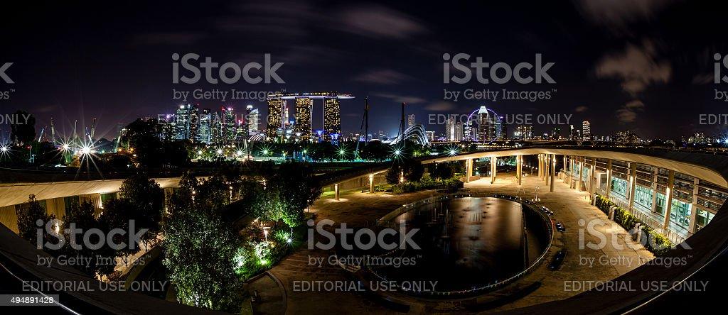 Singapore Night Skyline From Marina Barrage stock photo